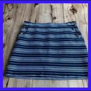 Loft Navy&White stripe skirt with gold button. 10